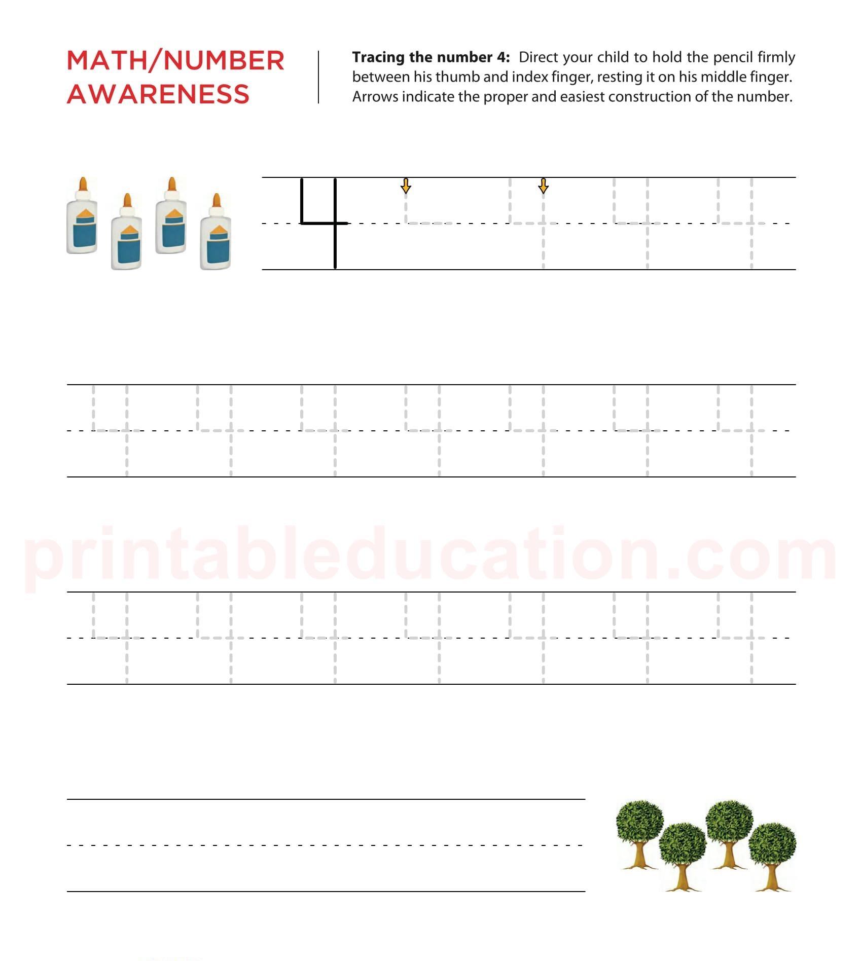 Tracing Number Practice Worksheet | PrintablEducation