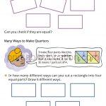 Class four 4 fraction worksheet halves and quarters