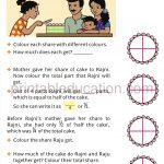 Class four 4 fraction worksheet halves and quarters a