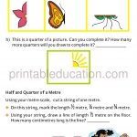 Class four 4 fraction worksheet halves and quarters f